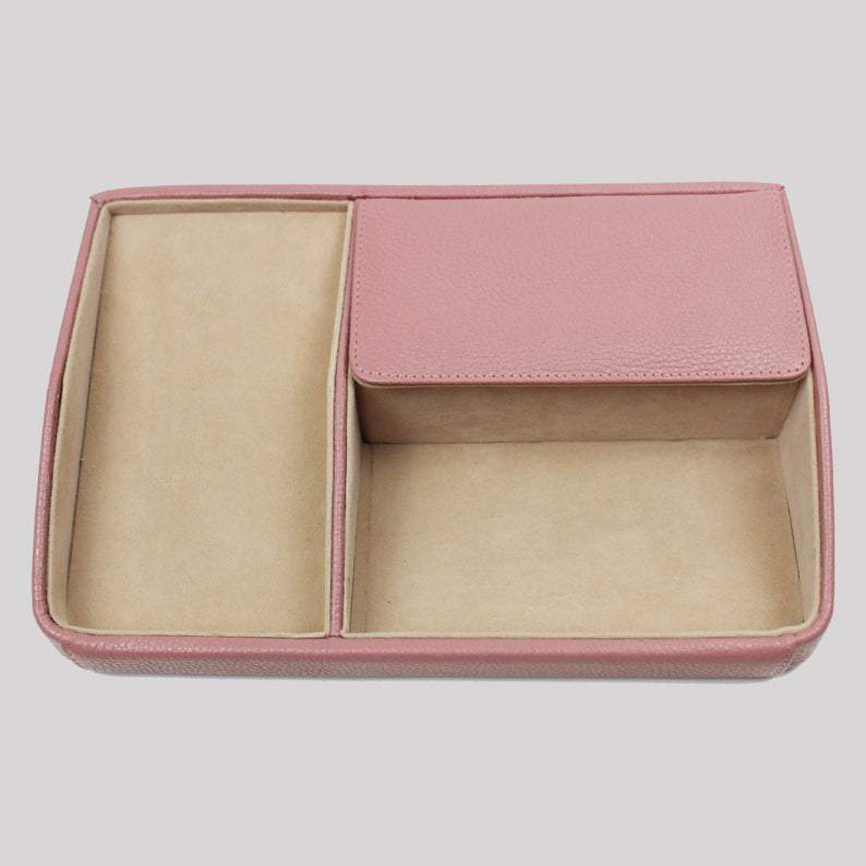 Blush Leather Accessories Tray