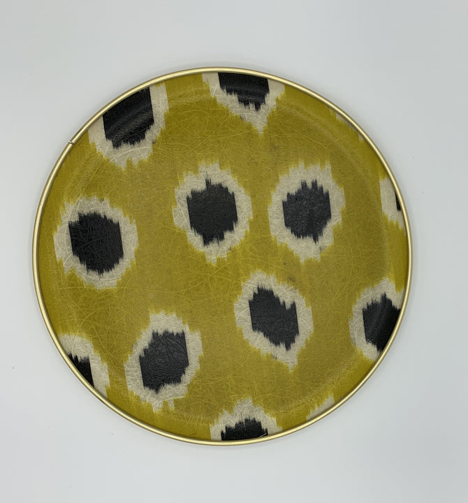 Lime Green and Black spot Silk Ikat Round Tray