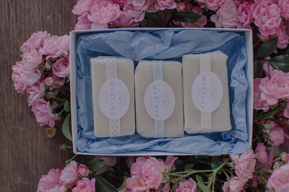 Three Assorted 60g soaps in a gift box