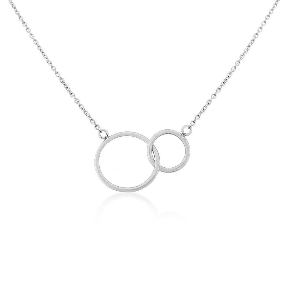 Kelso Interlinking Rings Silver and Yellow Gold Necklace