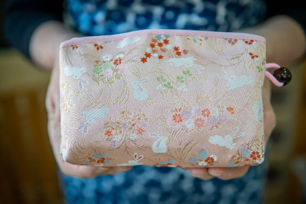 Kyoto Pouch - Pink Sienna White Hare