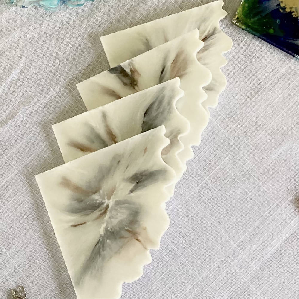 White marble effect coasters
