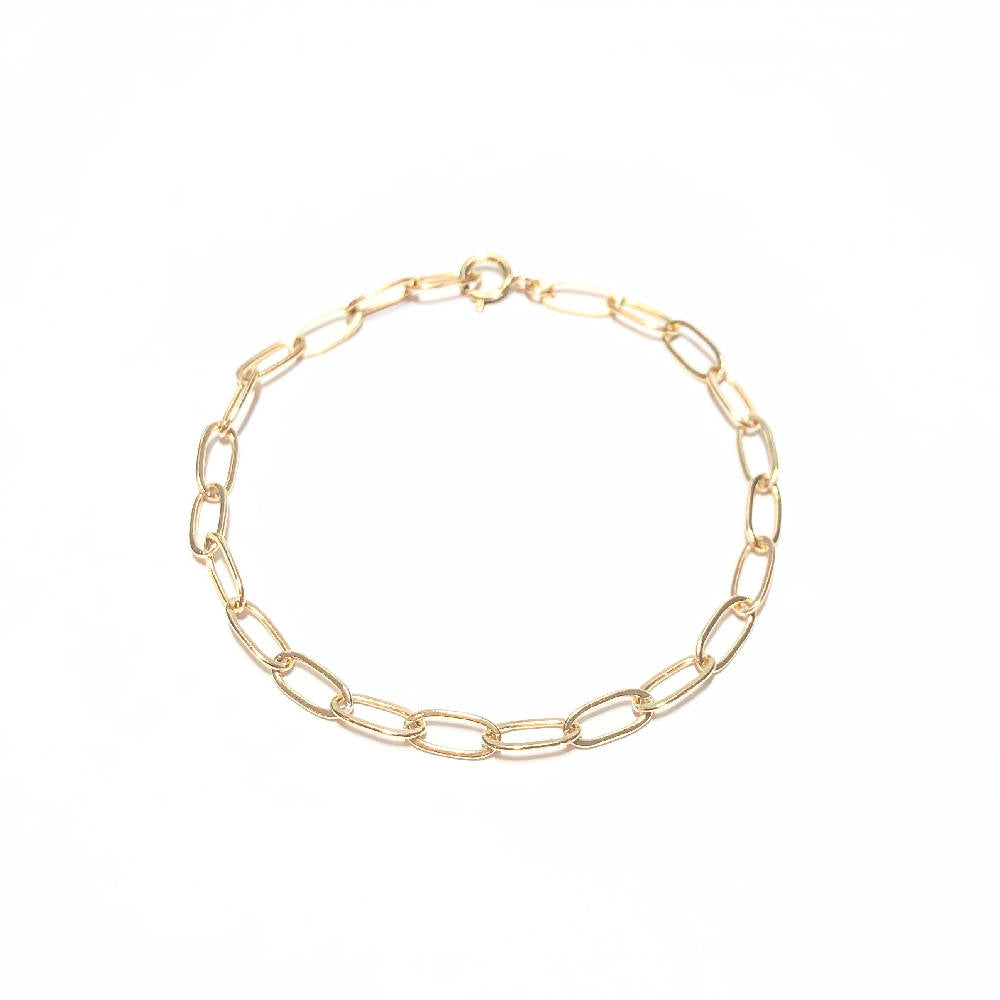 Gold Paperclip Necklace & Bracelet