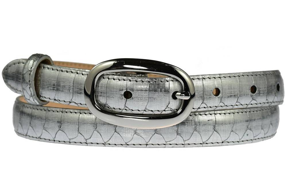 Ladies Italian Leather Mirrored Silver Skinny Waist Belt With Silver Buckle