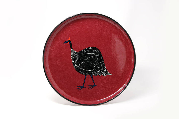 Small Round Tray, Textured Raspberry Guineafowl