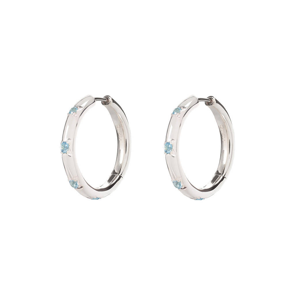 Large Silver Blue Topaz Cosma Hoops
