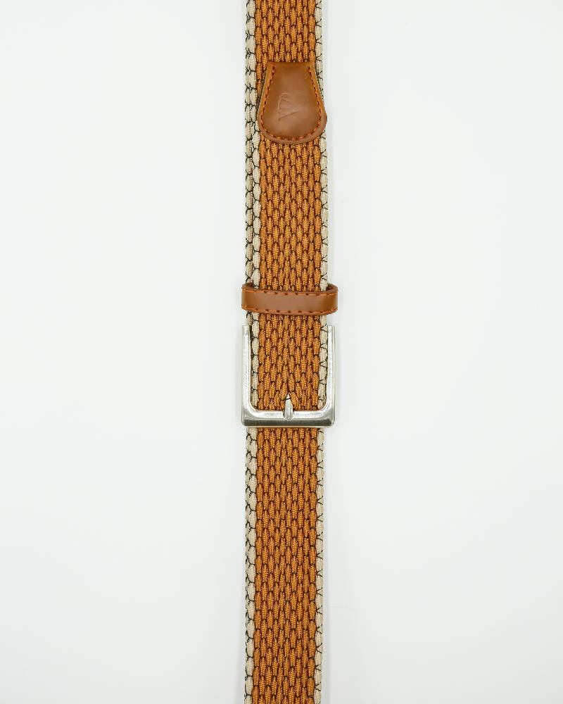 Unisex metal buckle woven polo belt. Ochre With Thin Beige Edging Design