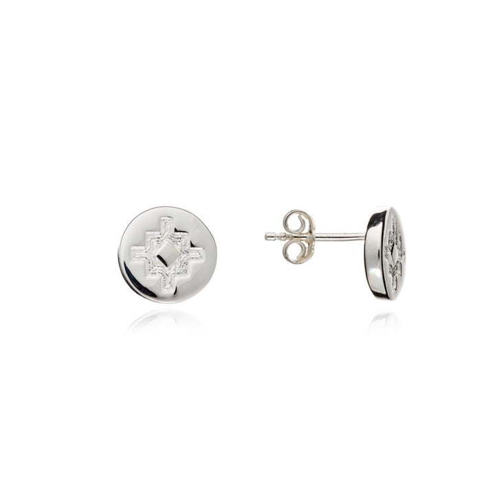 Stud Coin Earrings, Stirling Silver