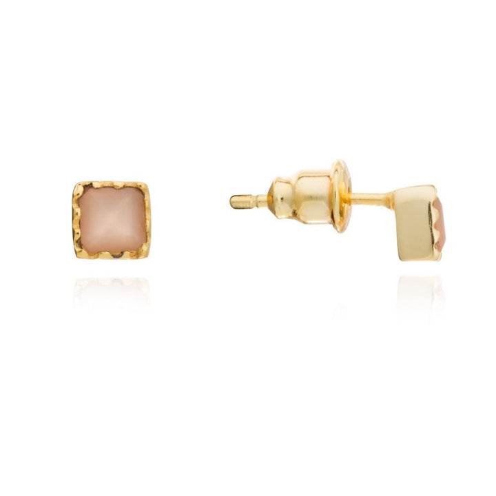 Small Mosaic Square Stud - Peach Moonstone