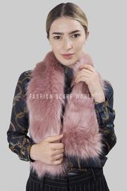 Plain Pink Pull Through Faux Fur Scarf
