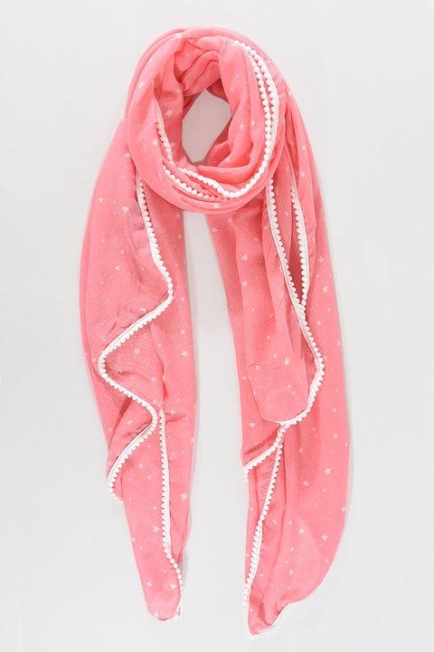 Pink With White Hearts & Stars Scarf