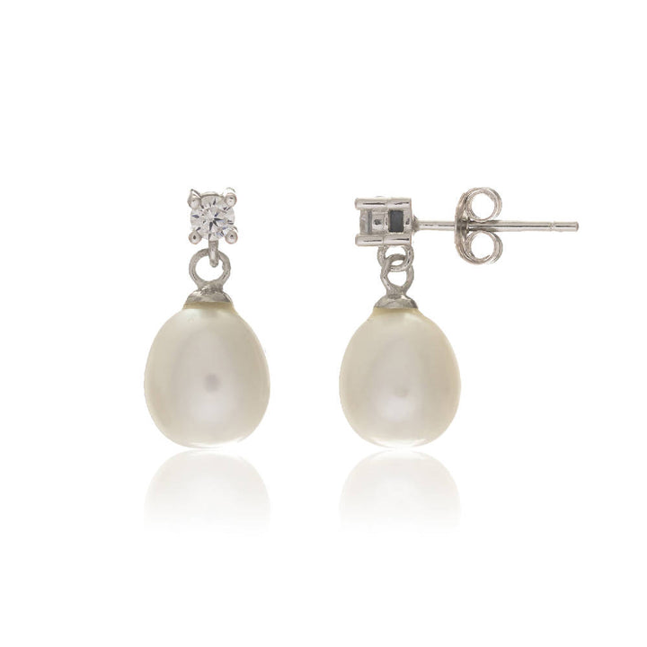 Drayton White Freshwater Pearl and Cubic Zirconia Sterling Silver Oval Drop Earrings