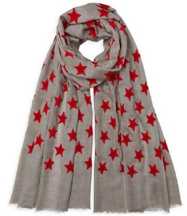 Velvet Star Pashmina - Natural/Red