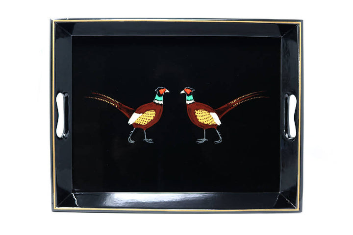 Medium Supper Tray, Black Pair of Pheasants
