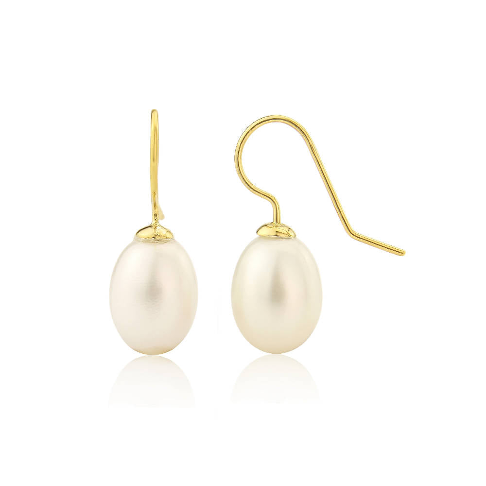 Gloucester White Freshwater Pearl & Yellow Gold Vermeil Drop Earrings