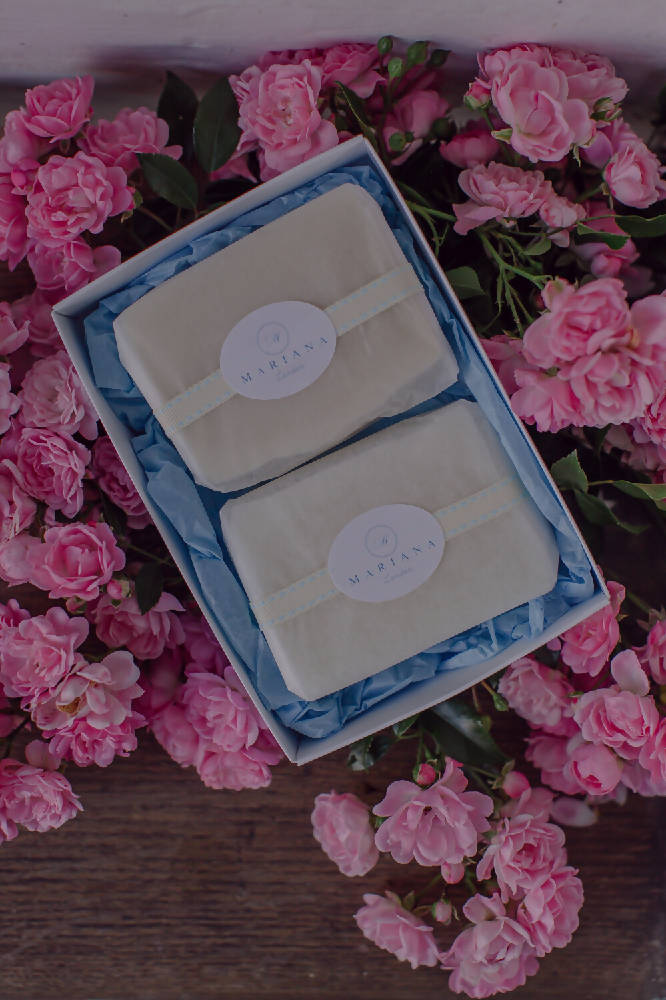 Two Rose Geranium and Bergamot 110g soaps in a gift box