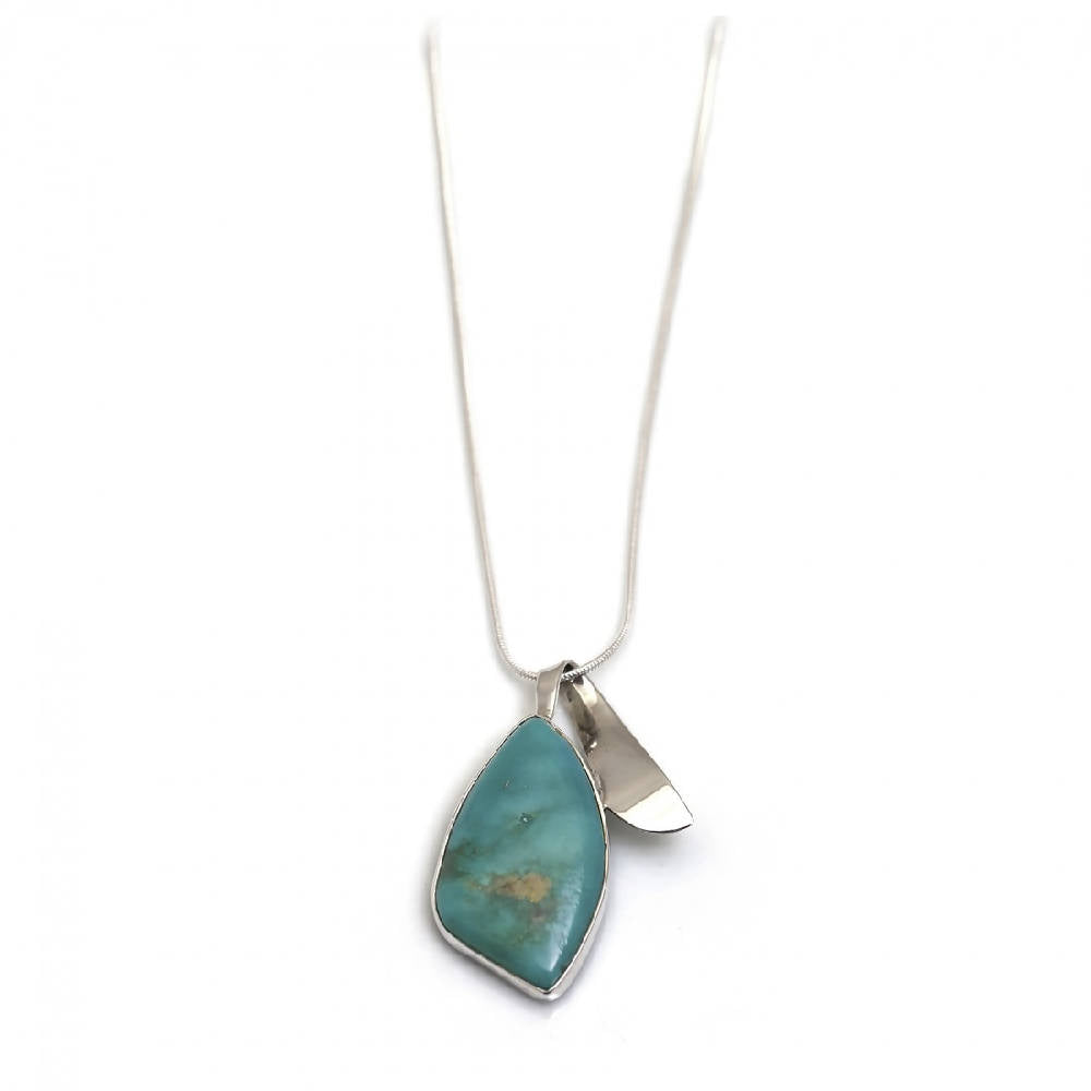 Sterling Silver & Turquoise Pendant With Snake Chain