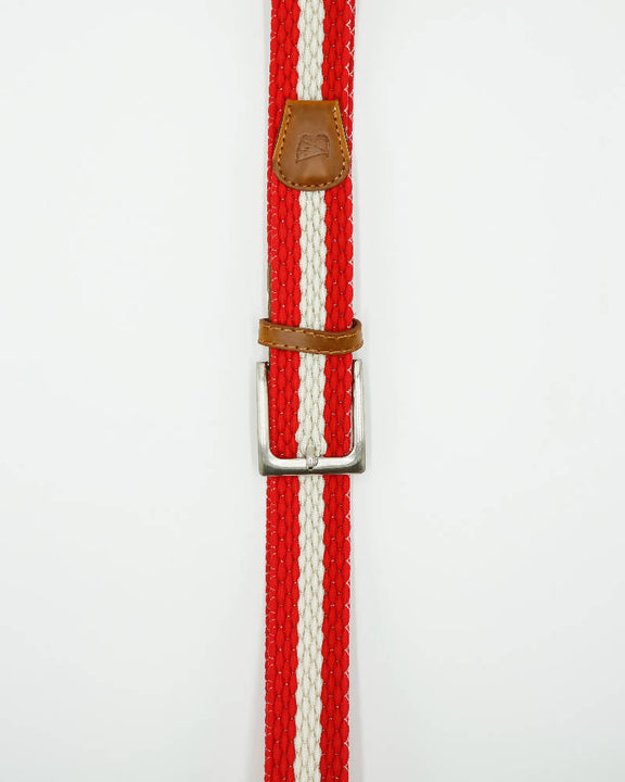 Unisex metal buckle woven polo belt. Red and cream stripe design.