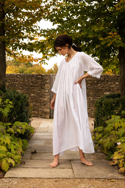 Julia - Full Length Cotton Nightgown - One Size
