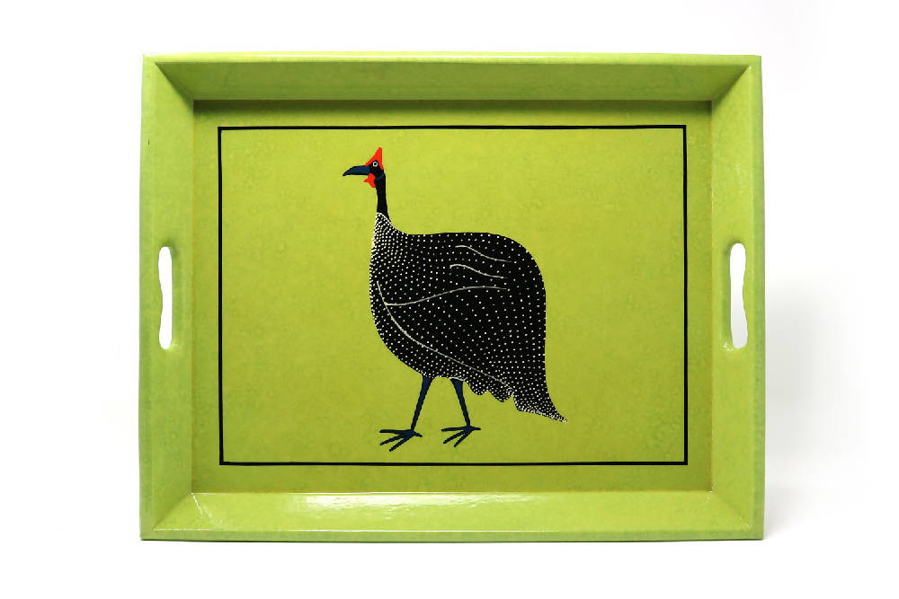 Medium Supper Tray, Textured Green Guineafowl