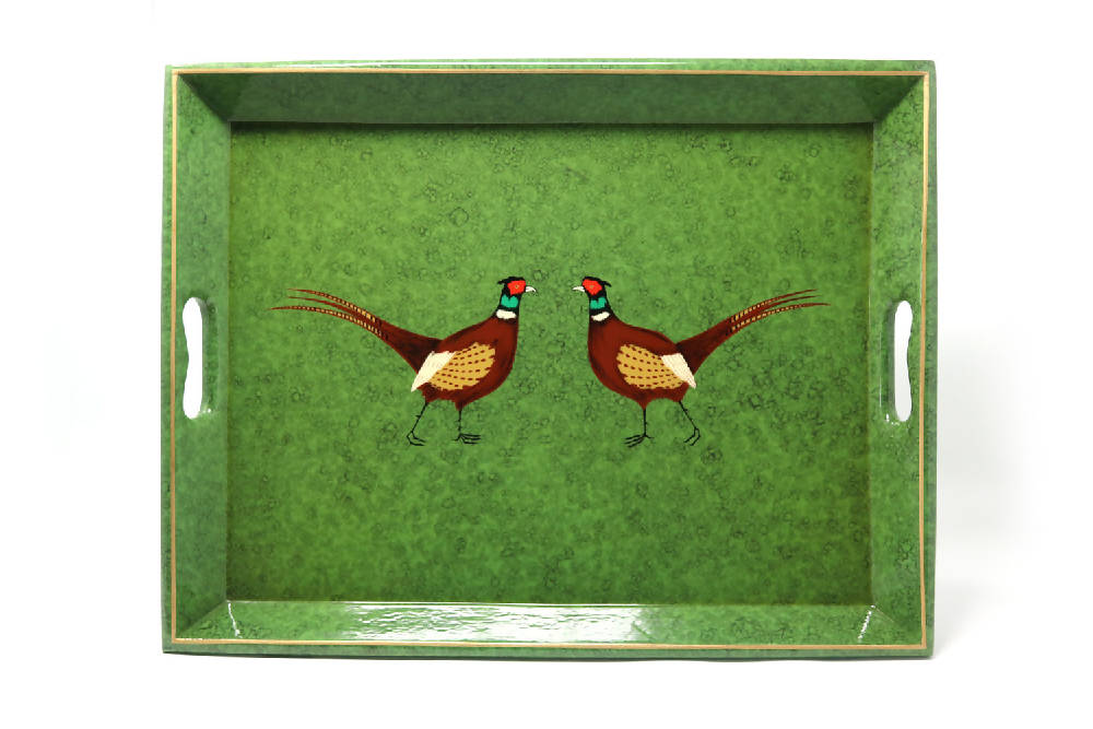 Medium Supper Tray, Green Pair of Pheasants