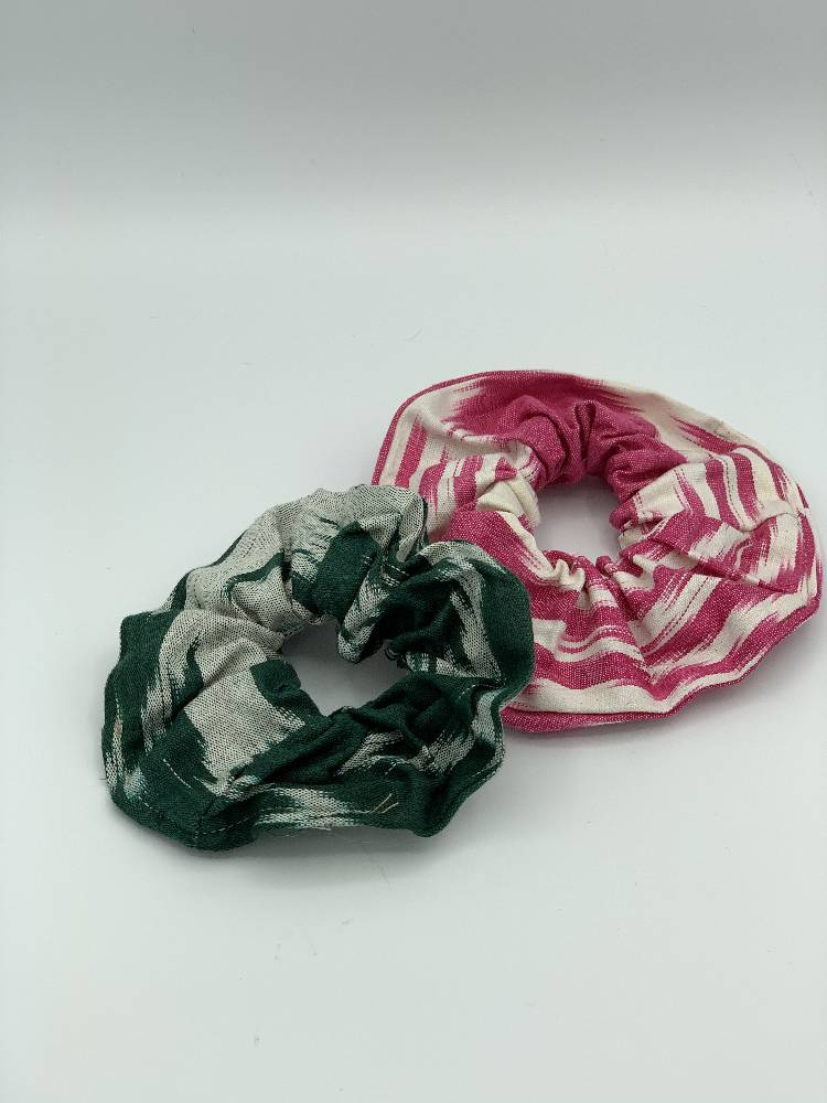 Pink Cotton Ikat Hair Scrunchie