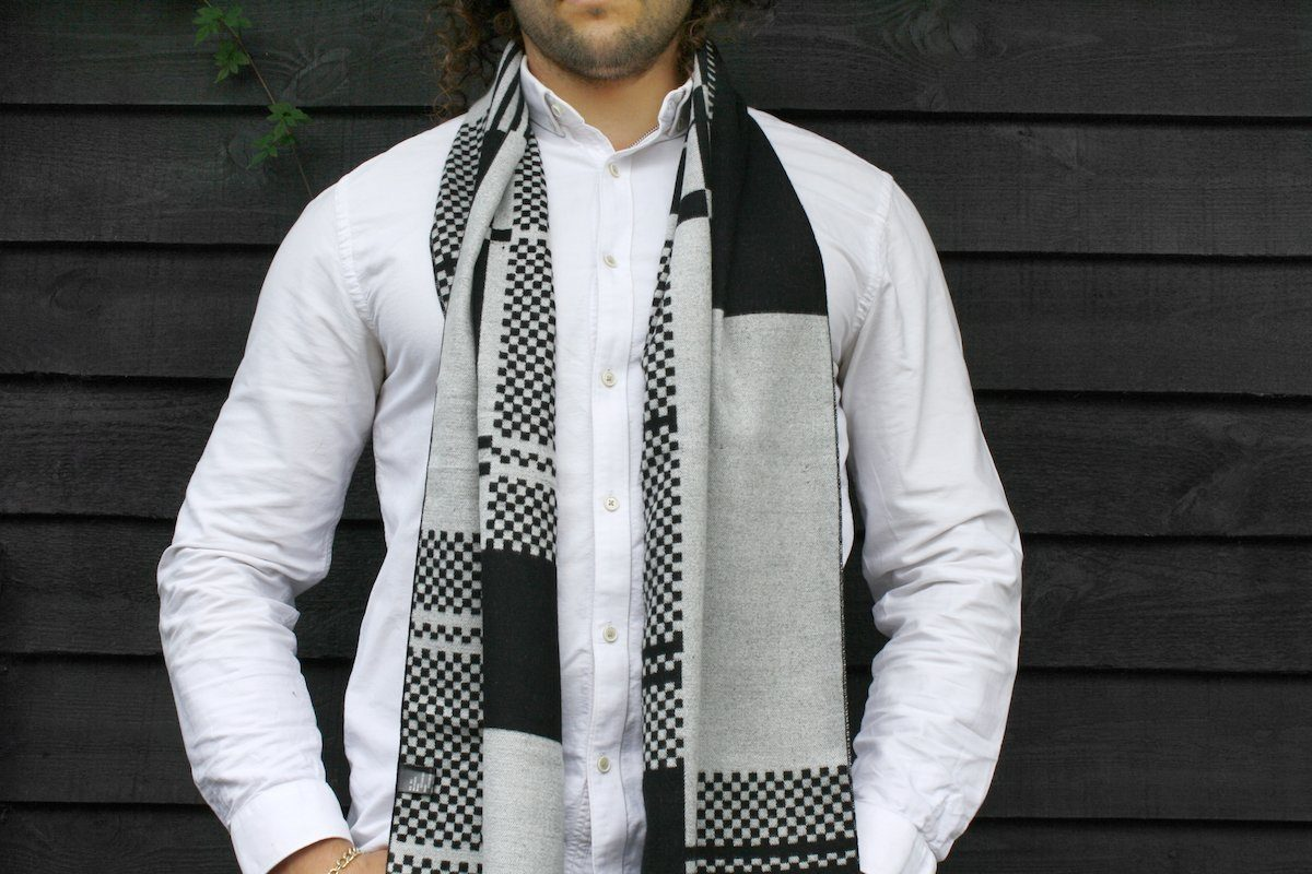 Black and White Block Bamboo Scarf