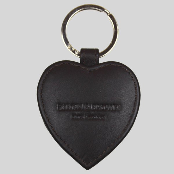 Brown Leather Heart Key Ring