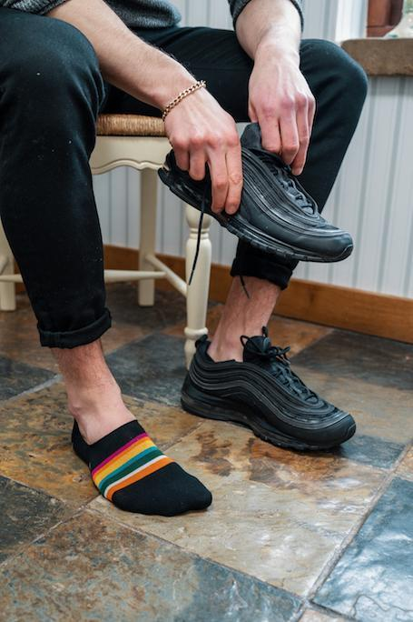 "Black Bold Striped ""No-Show"" Bamboo Socks"