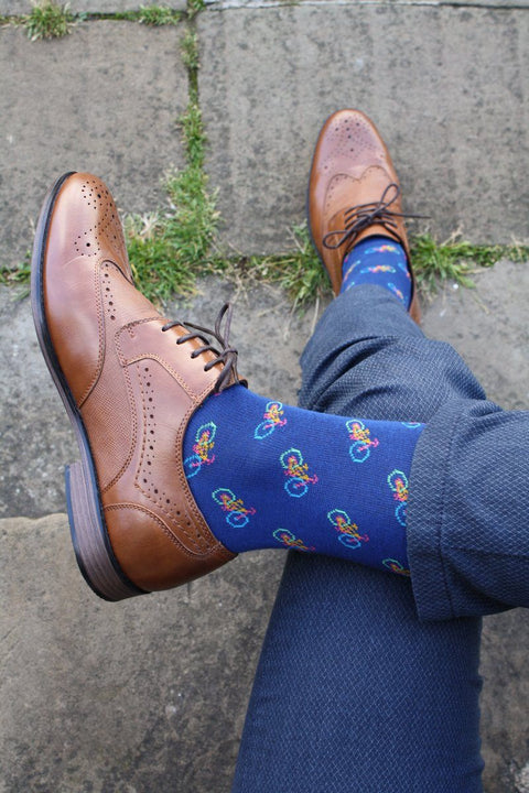 Blue Bicycle Bamboo Socks