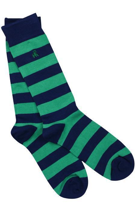 Pair of Lime Green/Navy Striped Bamboo Socks
