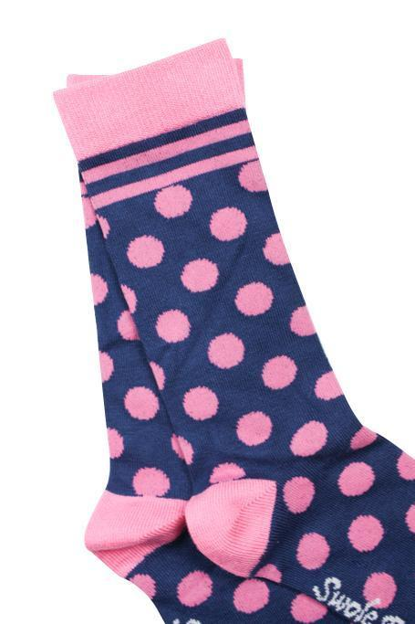 Navy and Pink Polka Dot Bamboo Socks