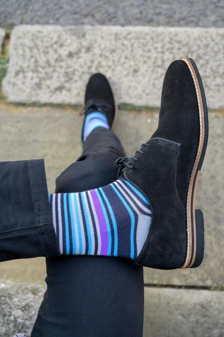 Purple and Blue Striped Bamboo Socks