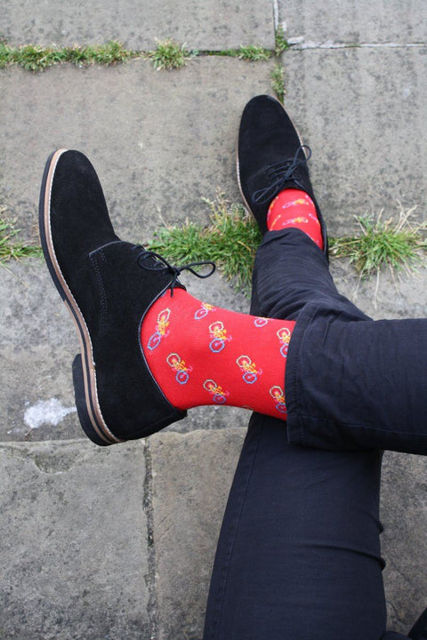 Red Bicycle Bamboo Socks