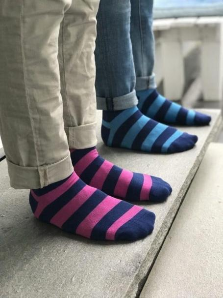 Rich Pink Striped Bamboo Socks (Comfort Cuff)