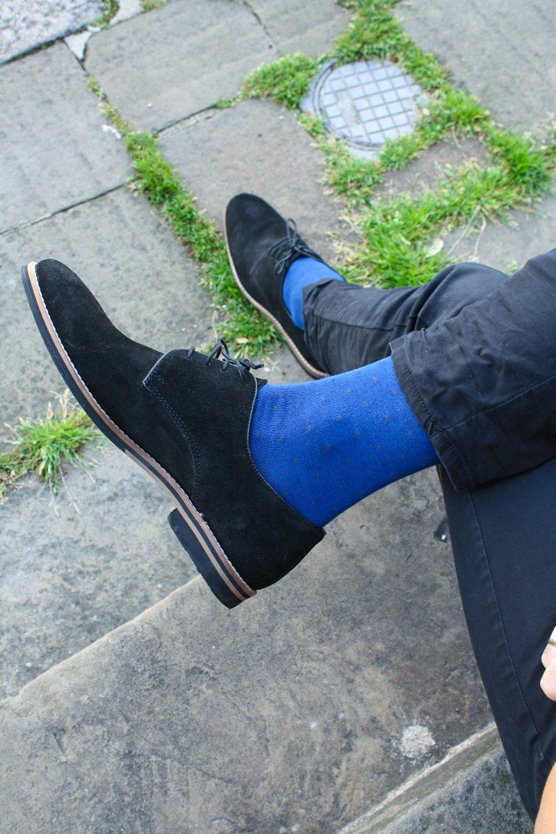 Spotted Royal Blue Bamboo Socks