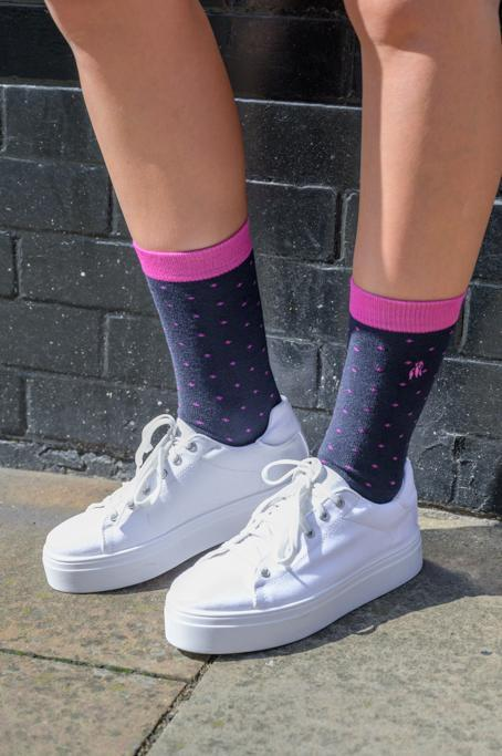 Spotted Pink Bamboo Socks