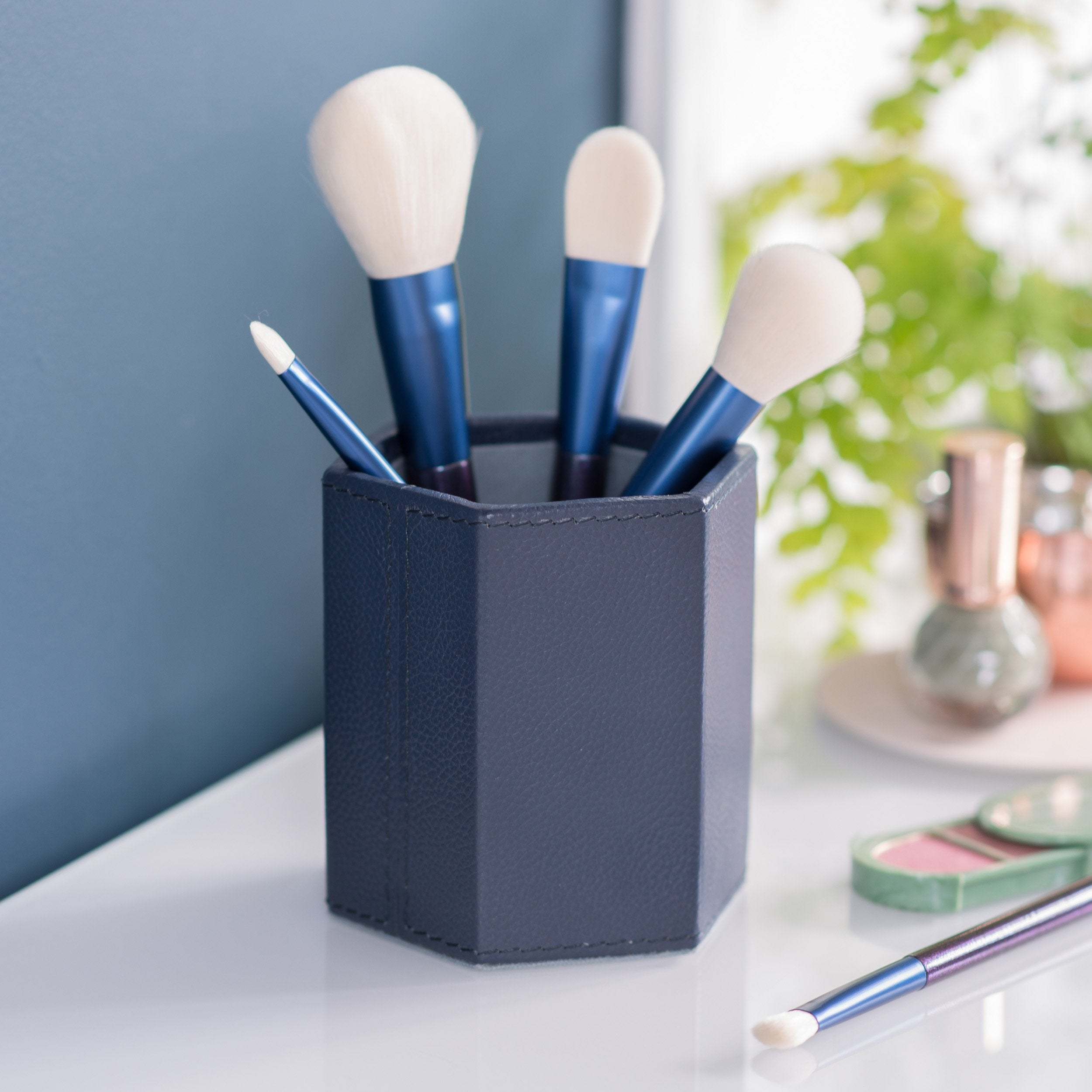 Hexagonal Leather Make Up Brush Pot - Ink