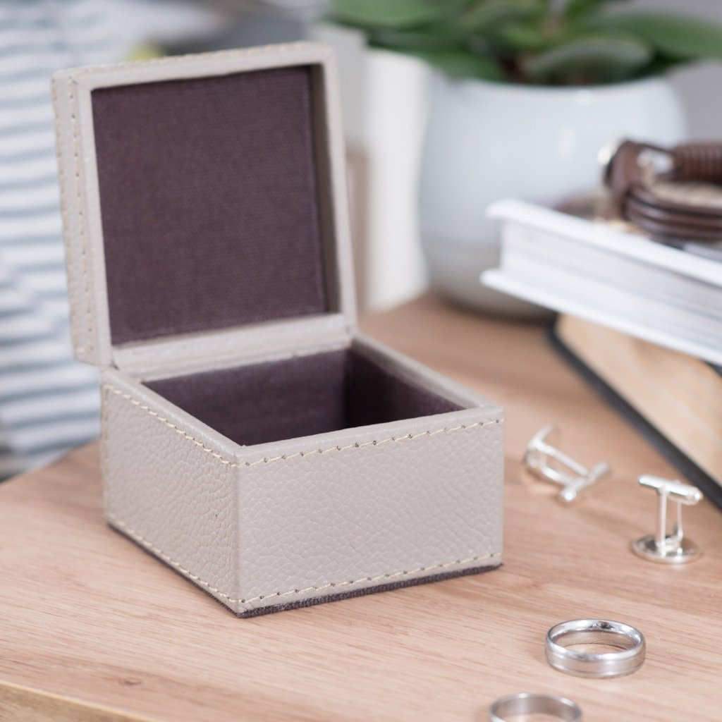 Leather Cufflink Box Square - Stone
