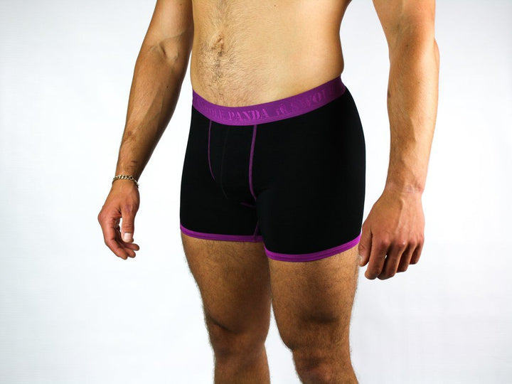 Bamboo Boxers - Navy / Purple Band