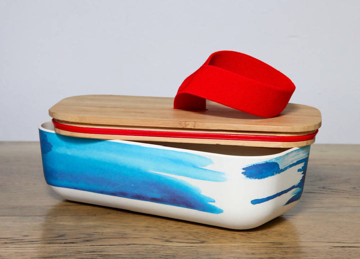 Bamboo Lunch box with blue wave design