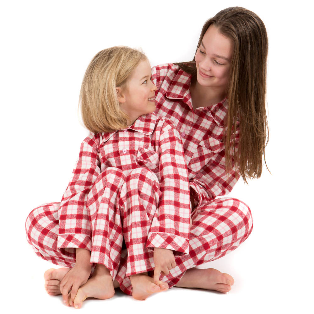 Pyjamas for Girls - Brushed cotton red, pink and cream check