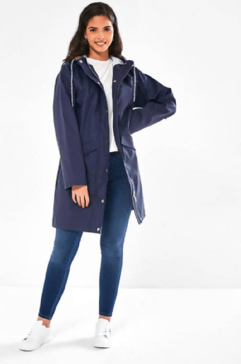 Navy Blue Rain Mac