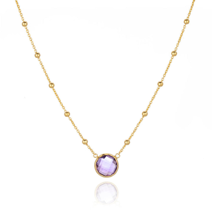 Ella single stone necklace Amethyst