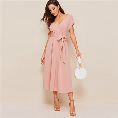 Pink Deep V Neck Short Sleeve Tie Waist Zip Back Dress