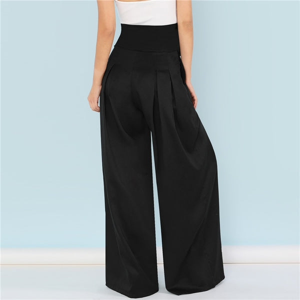 Black Self Belted Box Pleated Palazzo Pants