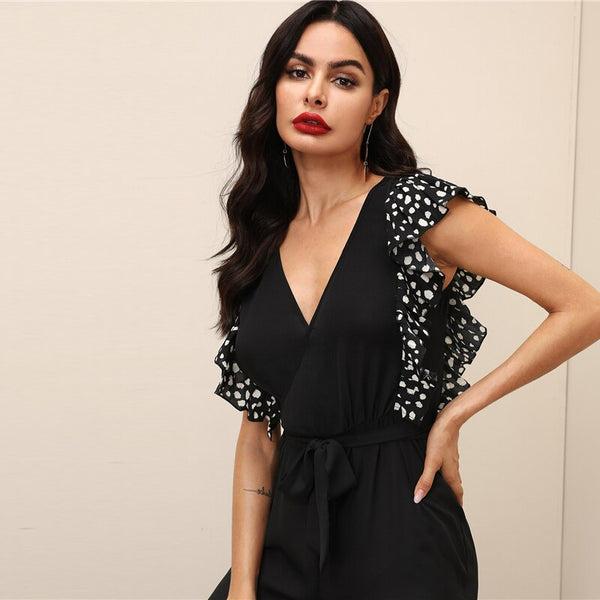 V Neck Flounce Sleeve Wide Leg High Waist Jumpsuit