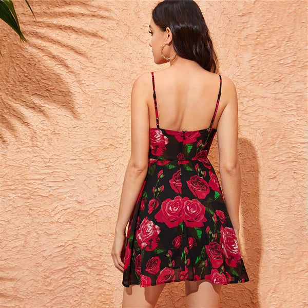 Floral Print Plunging Neck Spaghetti Strap Wrap Dress