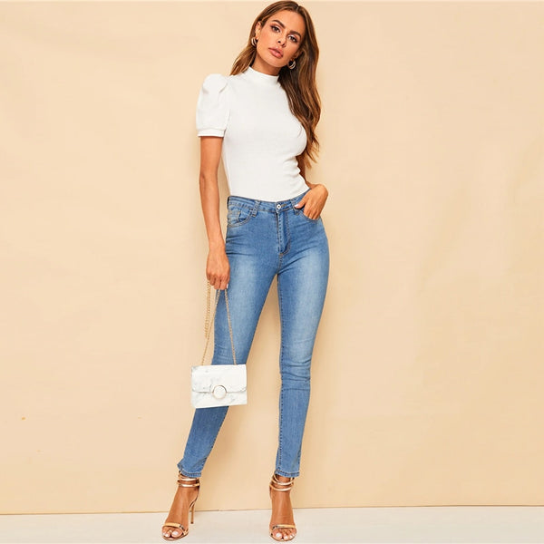 White Mock-neck Puff Sleeve Solid Top