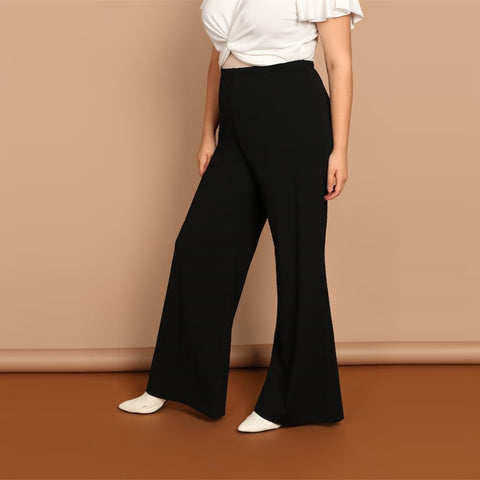 Plus Size Plain Loose Wide Leg Pants
